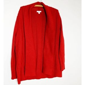 Charter Club Red Chunky Knit Open Sweater Large